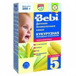 Каша Bebi Кукурузная низкоаллергенная с пребиотиками с 5 мес, 200 г, б/мол.