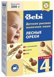 Каша Bebi Рисовая с лесными орехами с 4 мес, 200 г, мол.