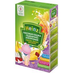 Каша Heinz Пшенично-кукурузная с персиком, бананом, вишенкой с 6 мес, 200 г, мол.