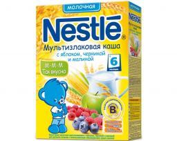 Каша Nestle Мультизлаковая с яблоком, черникой и малиной c 6 мес, 250 г, мол.