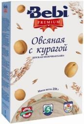 Каша Bebi Premium Овсяная с курагой с 5 мес, 250 г, мол.