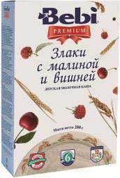 Каша Bebi Premium Злаки с малиной и вишней с 6 мес, 200 г, мол.
