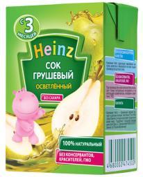 Сок Heinz Груша осветленный с 3 мес, 200 мл. б/сах.