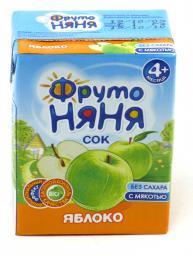 Сок Фрутоняня Яблоко прямого отжима с 4 мес, 200 мл, б/сах.