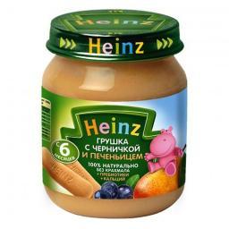 Пюре Heinz Грушка и черничка с печеньицем, с 6 мес, 120 г