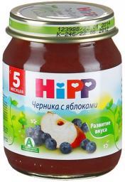 Пюре Hipp Черника с яблоком, с 5 мес, 125 г, б/сах.