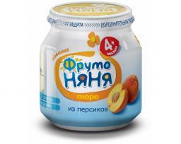 Пюре Фрутоняня Персик, с 4 мес, 100 г, б/сах