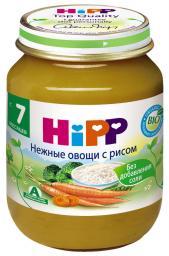 Пюре Hipp Нежные овощи с рисом, с 7 мес, 125 г