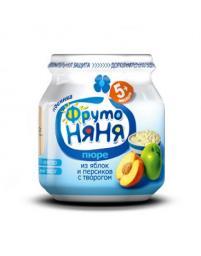Пюре Фрутоняня Яблоко и персик с творогом, с 6 мес, 100 г