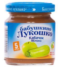 Пюре Бабушкино лукошко Кабачок с яблоком, с 5 мес, 100 г, б/сах.