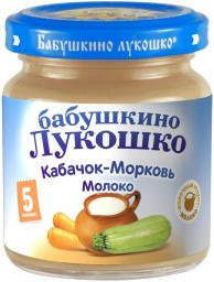 Пюре Бабушкино лукошко Кабачок с морковью с молоком, с 5 мес, 100 г