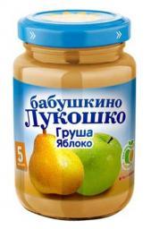 Пюре Бабушкино лукошко Груша с яблоком, с 5 мес, 200 гр. б/сах.