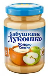 "Пюре Бабушкино лукошко ""Неженка"" Яблоко со сливками, с 6 мес, 200 г"