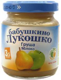 Пюре Бабушкино лукошко Груша с яблоком, с 3.5 мес, 100 г, б/сах.