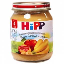 Пюре Hipp Банан с персиком и яблоком, с 6 мес, 125 г, б/сах.