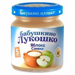 "Пюре Бабушкино лукошко ""Неженка"" Яблоко со сливками, с 5 мес, 100 г"