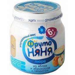 Пюре Фрутоняня Яблоко и абрикос с творогом, с 6 мес, 100 г