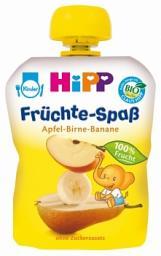 Пюре Hipp Яблоко с грушей и бананом, 90 г, б/сах.