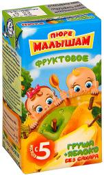 Пюре Фрутоняня Малышам Яблоко с грушей, с 5 мес, 125 г
