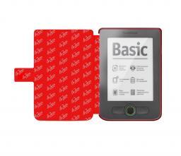 Чехол LaZarr Poсket Case для PocketBook Touch 613 эко кожа, серый с красным