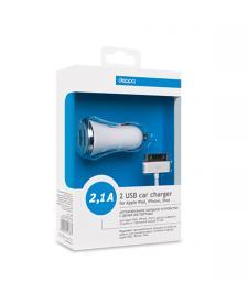 АЗУ Deppa Ultra с 2 USB компакт 2,1А + кабель для Apple iPhone, iPad, iPod, белый
