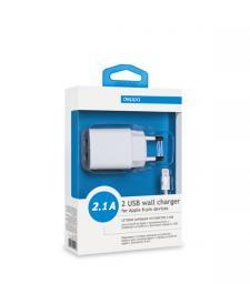 СЗУ Deppa ULTRA 2 USB 2,1А, дата-кабель с разъемом 8-pin для Apple, белый