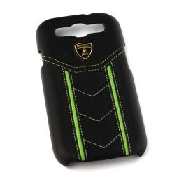 Чехол Lamborghini Cover Gallardo D2 для Samsung S3 I9300 кожа черный зеленые полосы