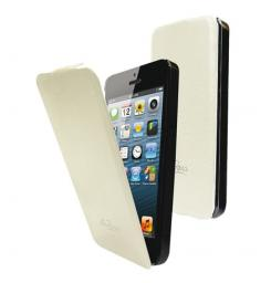 Чехол LaZarr Flip Case для Apple iPhone 5, кожа, белый