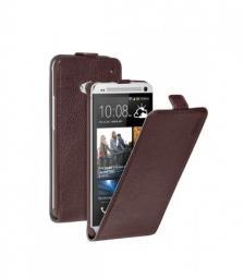 Чехол Deppa Flip Cover и защитная пленка для HTC One, магнит, коричневый