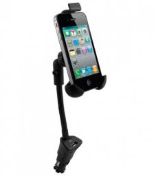Автомобильный держатель Deppa Smart One с АЗУ USB 1,5А + 2 дата-кабеля micro USB и iPhone, iPod, iPad, черный