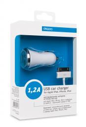 АЗУ Deppa USB компакт 1,2 А Ultra с дата кабелем для iPhone/iPod, Белое