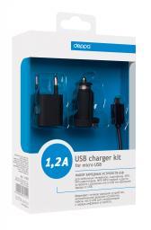 Набор из СЗУ и АЗУ Deppa компакт 1,2 А с дата кабелем для micro USB, Ultra, черное