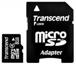 Карта памяти MicroSDHC 8GB Transcend Class4 + адаптер