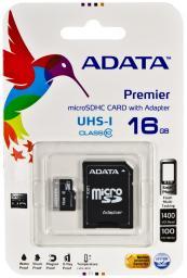 Карта памяти MicroSDHC 16GB A-data Class10 UHS-I U1+ адаптер SD AUSDH16GUICL10-RA1