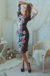 Платье черное с лилиями