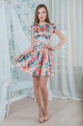 Платье в бирюзовый цветочек