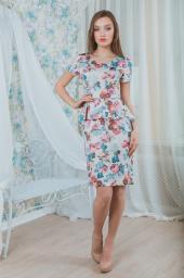 Платье бежевое в цветочек
