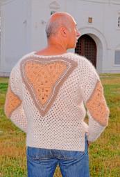 Пуловер модный вязанный «Витязь» из собачьей шерсти.Ручная работа .