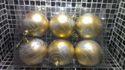 Игрушки на елку Шарики однотонные.: Новогодние украшения золотые шарики 6шт.