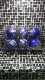 Игрушки на елку Шарики однотонные.: Новогодние игрушки шарики голубые 6шт.