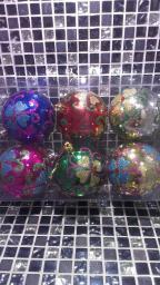 Новогодние украшения шарики цветные: Украшение елки шары с узорами 6шт.