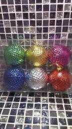 Новогодние украшения шарики цветные: Игрушки на елку шарики с шипами 6шт.