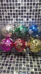 Новогодние украшения шарики цветные: Новогодние игрушки шарики с снежинками 6шт.