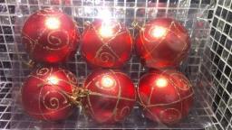 Игрушки на елку Шарики однотонные.: Новогодние украшения красные шарики 6шт.