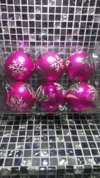 Игрушки на елку Шарики однотонные.: Игрушки на елку розовые шарики 6шт.
