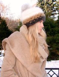 Вязанная шапка женская «Теплое Обаяние2» из собачьей шерсти .