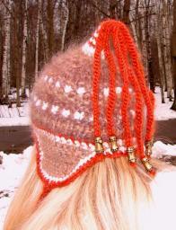 Шапка женская зимняя «ЗЕНА» красивая .Комплект вязаный из шерсти .