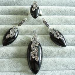 """Компелкт украшений из тайского серебра: кольцо, серьги,ожерелья """"тайское серебро 0716T3 730205"""