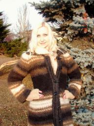 Вязанное пальто «Зимняя Сказка» .Эксклюзив .Зимнее теплое пальто .