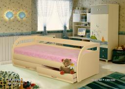 Кровать Элегия с ящиками из массива дерева